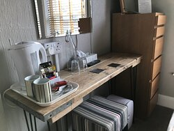 Unique scaffolding plank dressing table, made by us! Room Two.