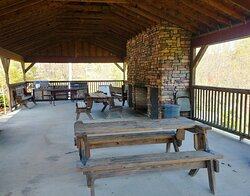 Interior of the pavilion, plenty of seating and grills