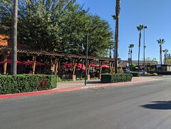 Looking back at the Lazy Dog restaurant outside roadside Patio.
