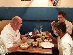 Paul and Clive from Word Gets Around Magazines enjoy a meal at Mattancherry!