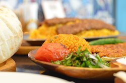 Flavoured Rice with kabab