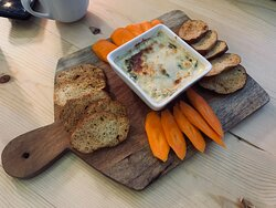 Hot Spinach Artichoke Dip with Crostini and Carrots