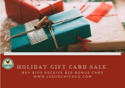 Holiday Gift Card Sale. We offer gift wrapping and delivery. Order online www.lesudchicago.com   #lesudchicago #giftcardsale #roscoevillage #happyholidays2020 #roscoevillageneighbors #REOPENBUSINESS