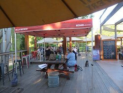 Open dining deck at the rear of the restaurant and over-looking the Ovens River.
