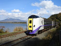 Passenger train passing the lake