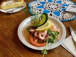 Freshly made shrimp sandwich
