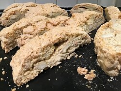 Biscotti biscuits straight out of the oven.