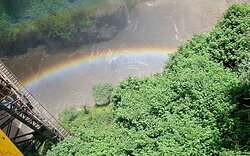 Iconic image of the rainbow taken from the Zambian side of the Bridge during our visit. An awesome sight.