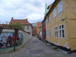 Helsingoer, Kirkestraede towards Skt. Olai's Kirke