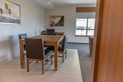 Wonderful dining table and work desk in the 1 BR suite.