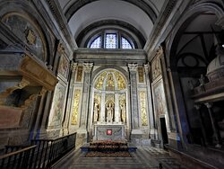 The niches contain figures of the martyrs St. Fructuosus and his deacons Augurius and Eulogius.