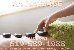 AA Massage, is an asian massage spa designed to help you reduce stress, relieve build up chronic pain, and increase the overall quality of your life! We specialize in multiple affordable, customized treatments to meet the needs of a wide variety of clients in a peaceful setting! We are proud to be providing Authentic Asian Massage therapy services in our beloved community of Lemon Grove, CA!