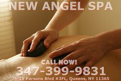 New Angel Spa, is an asian massage spa designed to help you reduce stress, relieve build up chronic pain, and increase the overall quality of your life! We specialize in multiple affordable, customized treatments to meet the needs of a wide variety of clients in a peaceful setting! We are proud to be providing Authentic Asian Massage therapy services in our beloved community of Queens, NY!