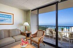 Aston Waikiki Sunset - 1 Bedroom Ocean View Livingroom