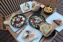 Salads, wraps, kebaba and fries!