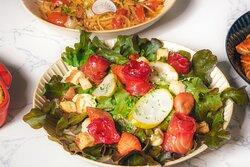 Salmon Salad: Smoked Beetroot Salmon, Pickled Cucumber, Strawberry, Mixed Salad, Crouton, Mascarpone, Truffle Balsamic Dressing