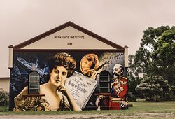 The mural at the Mechanics Institute.