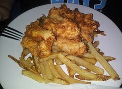 Chicken fingers with homemade fries.  Hot and delicious.