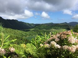 Walking around the Caldera. Sete Cidades to the left, to the right of the field with hydrangeas.