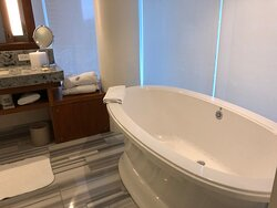 Room 1117 Deluxe City View Room with Jetted-tub. Half the bathroom is floor to ceiling windows with view of the city and partial view of the water.