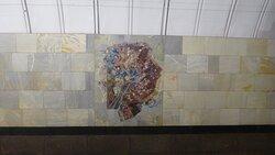 """Мозаичное панно на станции метро """"Чеховская"""""""
