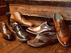 We stock a nice selection of dress and casual shoes sandals and slippers, from brands like Clarks, Olukai, Bostonian, Stacy Adams, Samuel Hubbard and Martin Dingman.