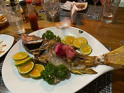 Grilled Seabass! you have to order ahead of time
