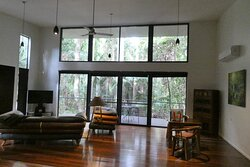 The units have very high ceilings and wall to wall windows showcasing the surrounding rainforest vegetation.