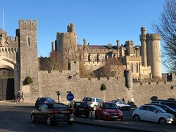 In December sunshine the mighty walls of Arundel Castle are a fine sight.