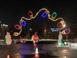 Grand's Winter in Wilmington Drive-Thru Light Show- lightbulb arch entrance