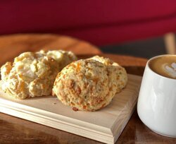 Sweet and savoury scones. Availability and flavours vary