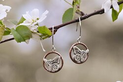 handmade copper and sterling silver butterfly earrings