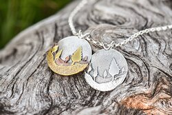 mixed metal Woodland Conifer Forest pendants made with recycled sterling silver, copper, and brass