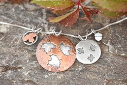 Handmade copper and sterling silver Autumn Leaves and Seeds jewelry collection