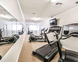 Fitness center with television