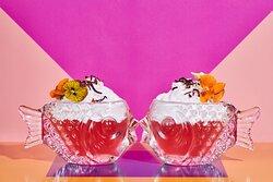 #dontbekoi  Strawberries & Cream Tea Infused-Gin, Crème de Fraise Des Bois, Lemon, Rhubarb Bitters, Strawberry Coconut Mousse