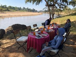 1st outdoor dinning area....just on the bank of a river that runs parallel to the Lodge