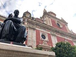 Statue of the sculptor, Juan Martinez Montanes outside the Salvador Church in the Plaza del Salvador