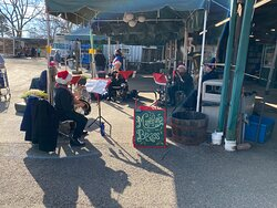 Linvilla Orchards Mansfield Brass band during Santa event