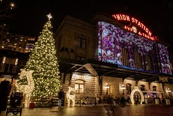 Denver Union Station hosts a free, outdoor light show during each night in December.