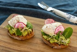 Try our new Avocado Toast with smashed avocado, good seeds, red radish and 2 eggs of your choice.