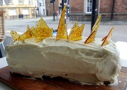 Prosecco and Strawberry Gin Cake with Black pepper Shards, all our cakes are homemade.