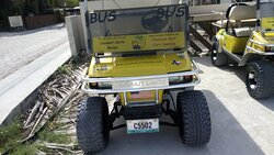 Coconut Carts Belize - Custom 6 seater with In-Seat Cooler and onboard rockin Bluetooth Stereo!  Nicest 6 seater on the Caye per Tripadvisor!  Custom Ride... Custom Wheels... The 'BUS' rolls smoothly up and down the Caye!  Check it out at www.coconutcartsbelize.com... Book Away!