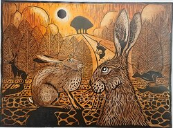 """""""Hare Field"""" is a limited edition linocut by English printmaker, Ian MacCulloch."""