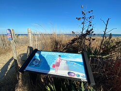 Water Quality sign at the edge of the beach on Rehoboth Beach Boardwalk