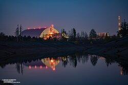 Осенний вечер. Вид на ЧАЭС и канал.
