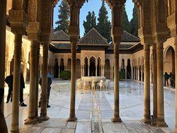 Inside the beautiful Court of Lions ( Patio de los Leones ) in the Alhambra