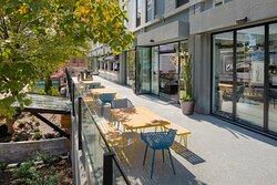 Spacious outdoor patio and bar