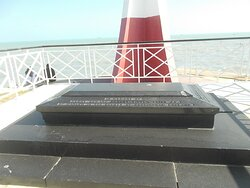 The memorial plate or such at the base of the Lighthouse