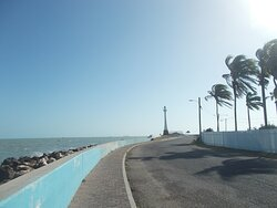Approaching the Lighthouse (with the sea on the left & some palm trees on the right)